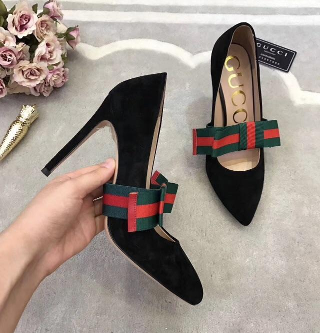 805875aa91b Gucci Inspired Suede Pumps with Removable Web Bow – Celebrity Inspiracion