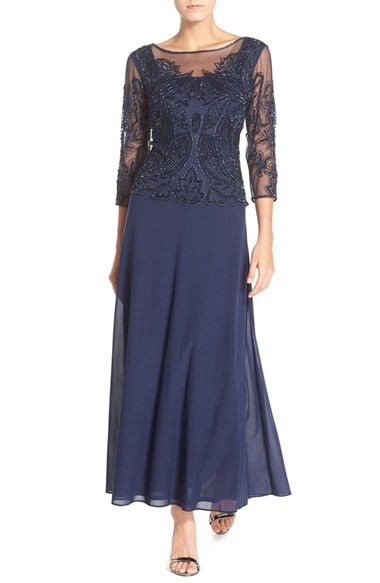 Free shipping and returns on Pisarro Nights Embellished Mesh Gown at Nordstrom.com. Luxe beadwork adds a deep, dark twinkle to the gossamer mesh overlay atop this flowing evening gown.
