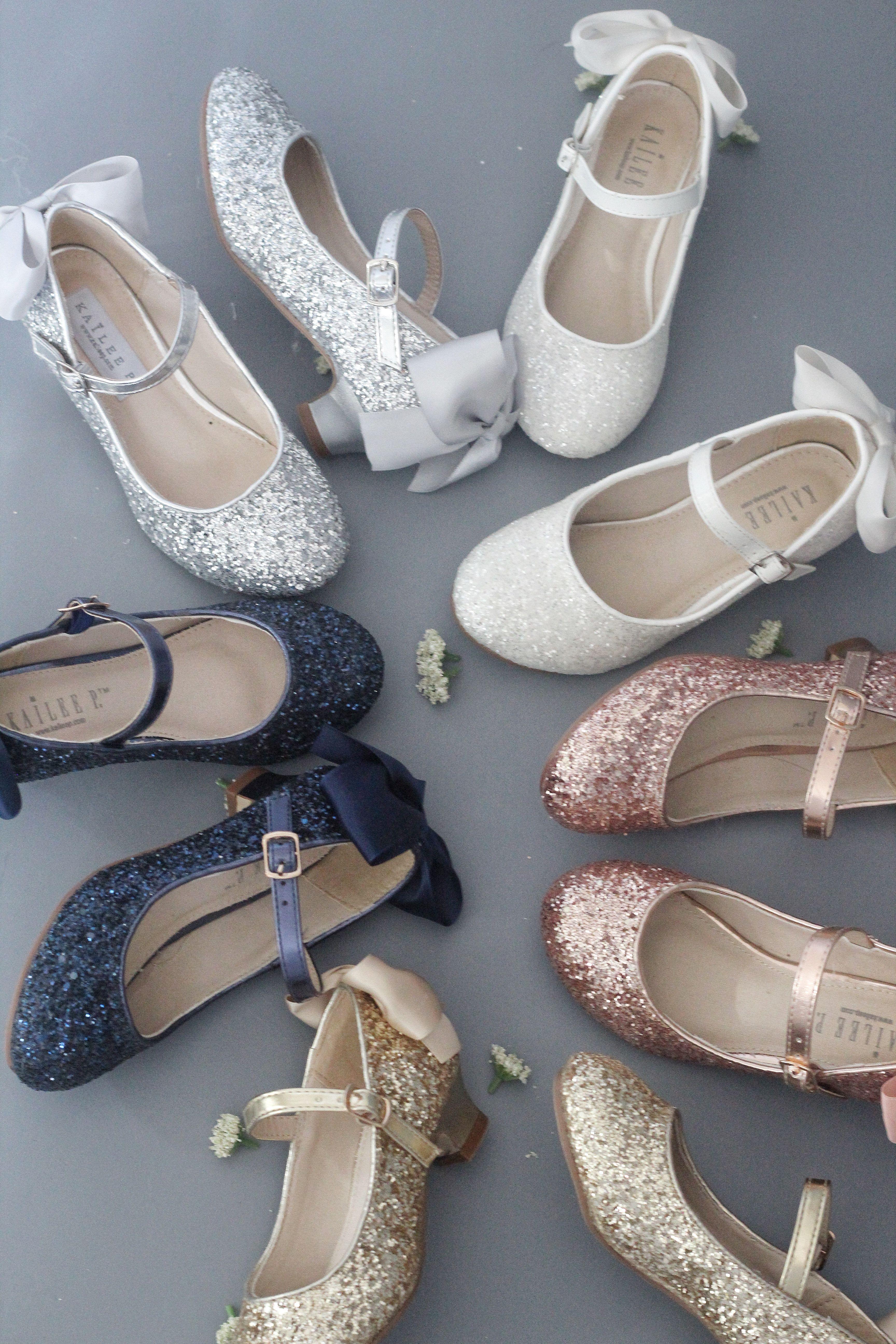 Gold rock glitter maryjane heels with satin bow flower