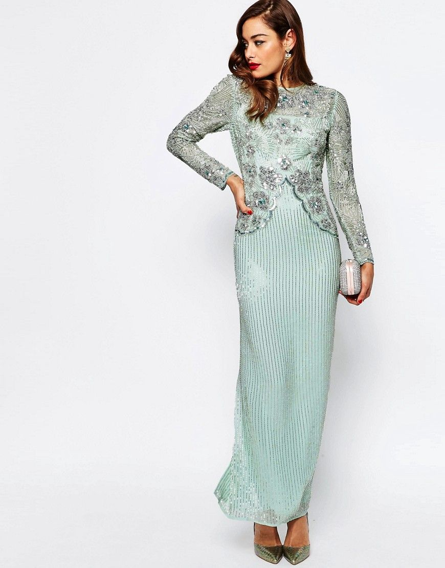 Asos Red Carpet Linear Long Sleeve Embellished Maxi Dress