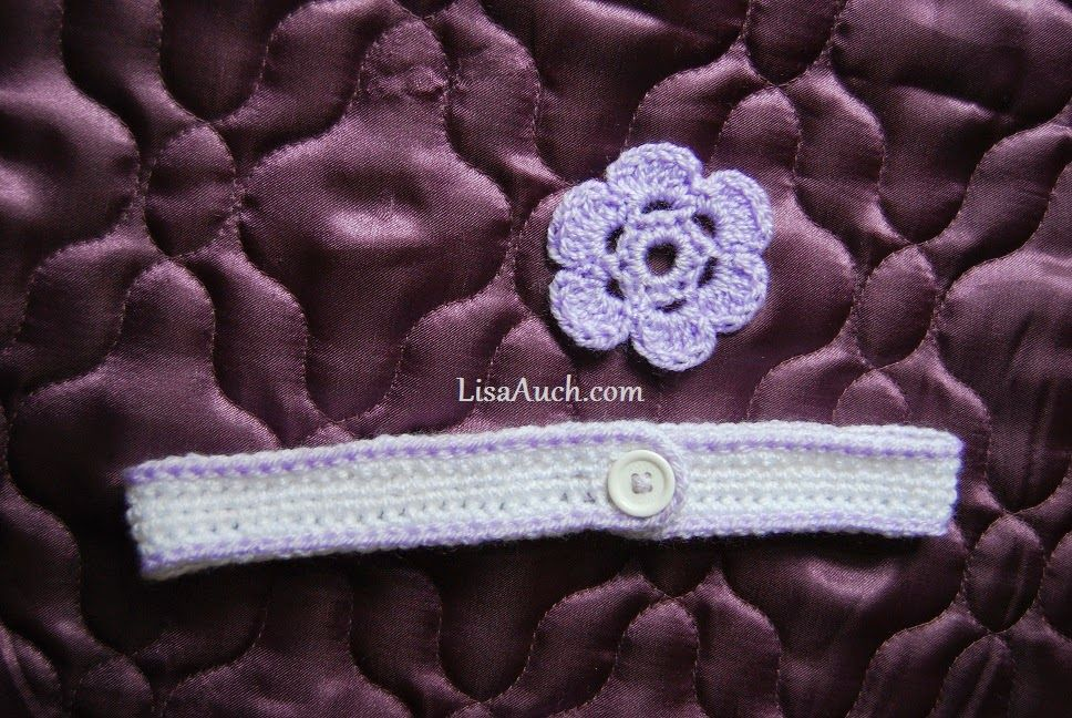 Easy crochet baby headband with button and 6 petal crochet flower ...