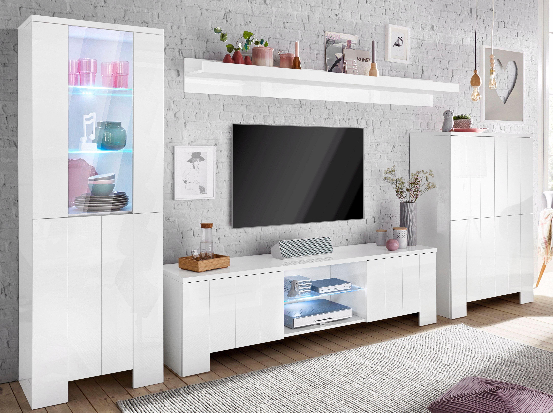 Designer wohnwand weiß hochglanz  TECNOS Wohnwand weiß, Hochglanz, Push to open-Funktion, FSC ...