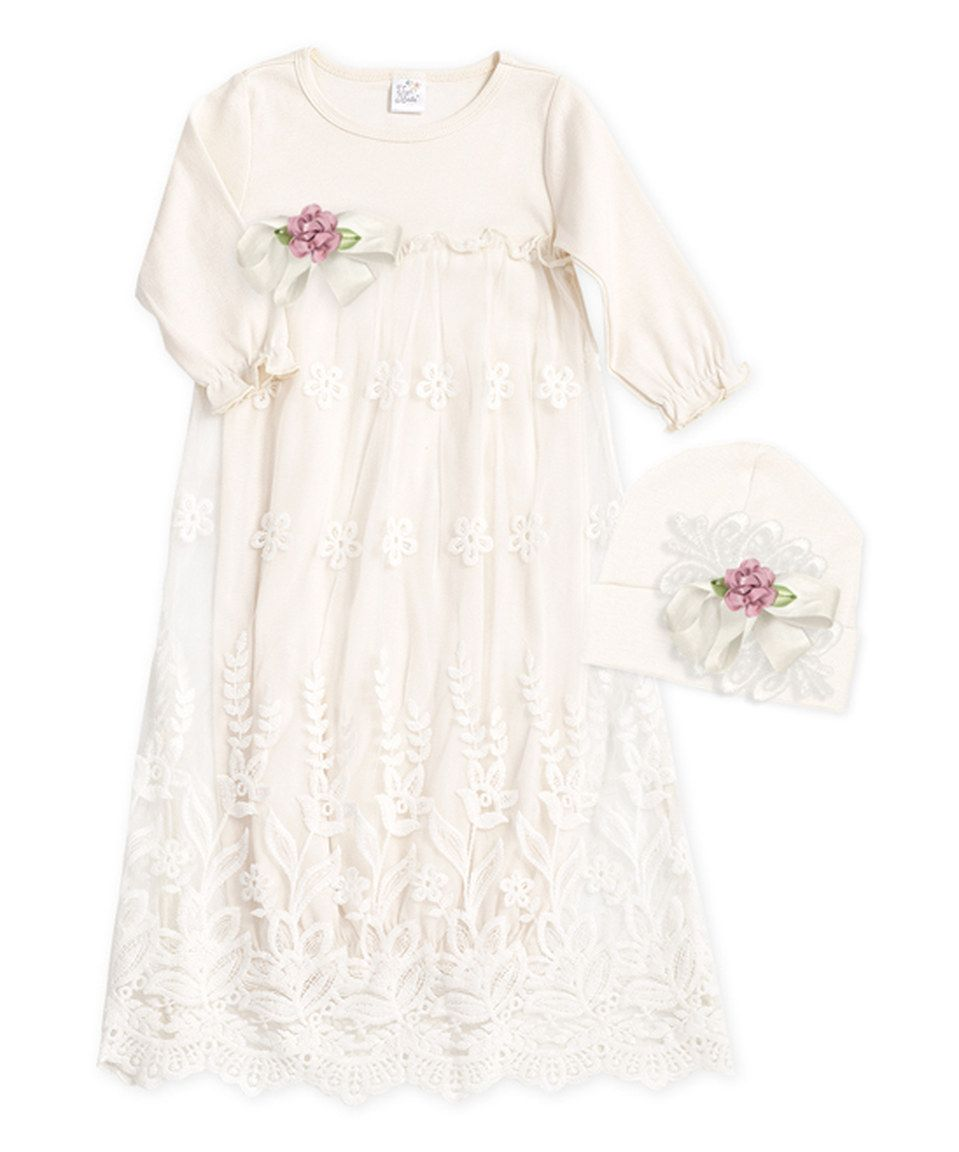 a5d6a803d801 Look at this  zulilyfind! Tesa Babe Ivory   Pink Olivia Lace Gown ...