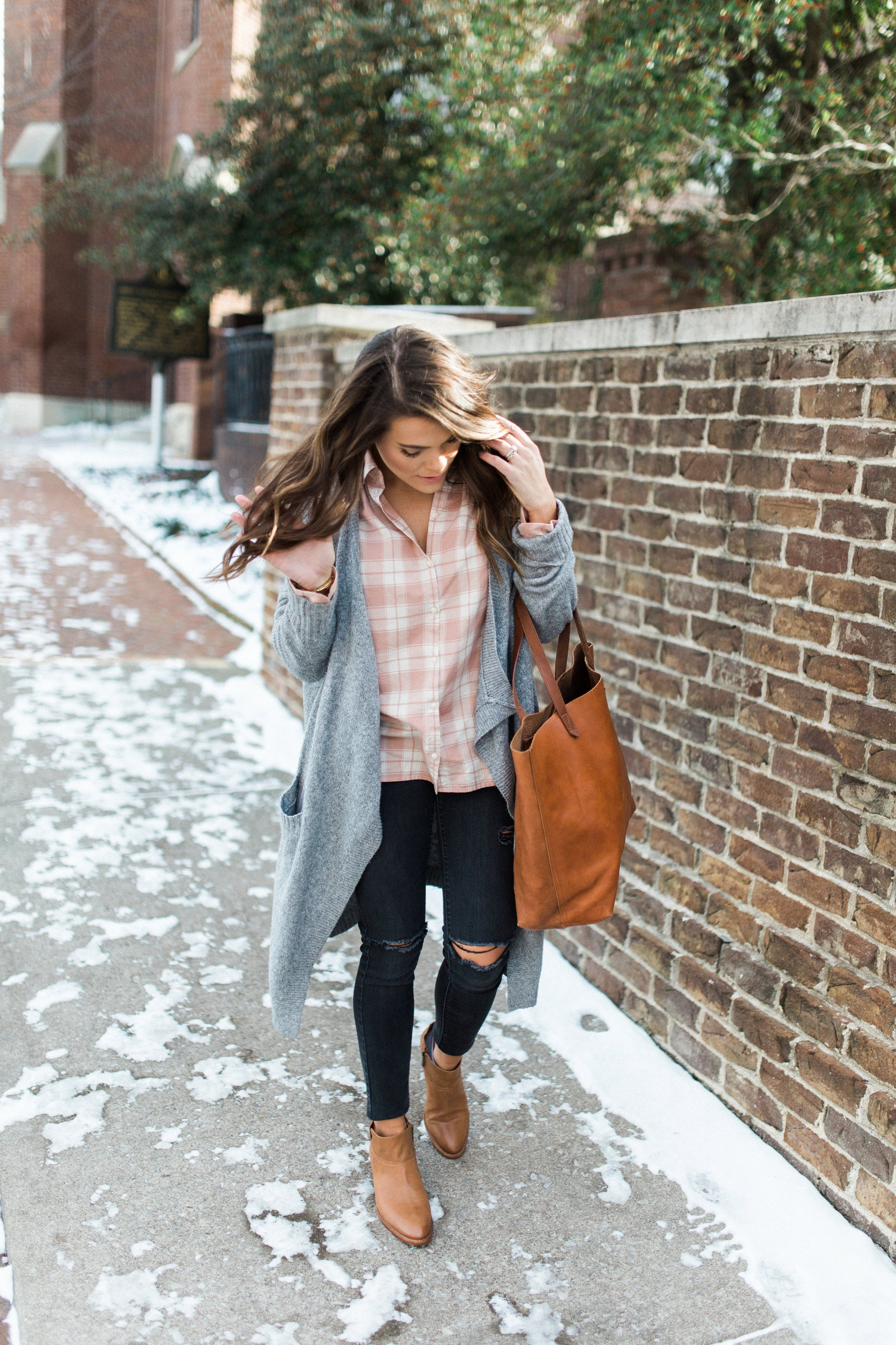 ba7227dbbe68 Winter Outfit Inspiration Ft. Madewell Pink Plaid Shirt