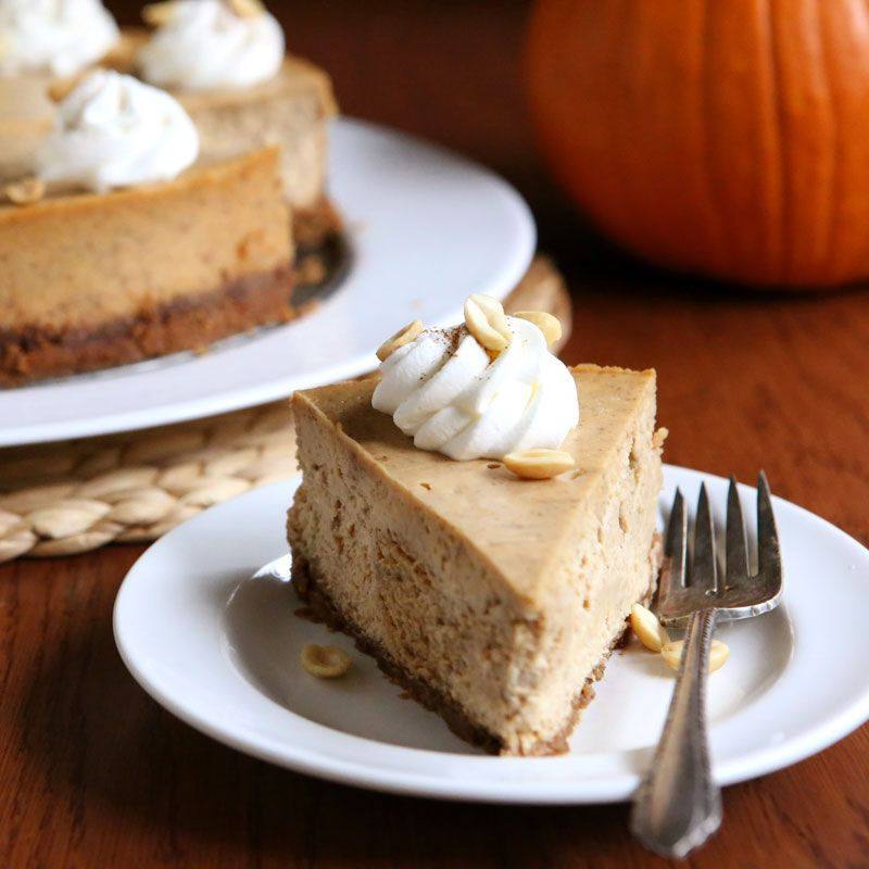 Peanut Butter Pumpkin Cheesecake Recipe and photo by Annalise Sandberg for Peanut Butter & Co. Get the recipe: http://ilovepeanutbutter.com/recipes/peanut-butter-pumpkin-cheesecake/