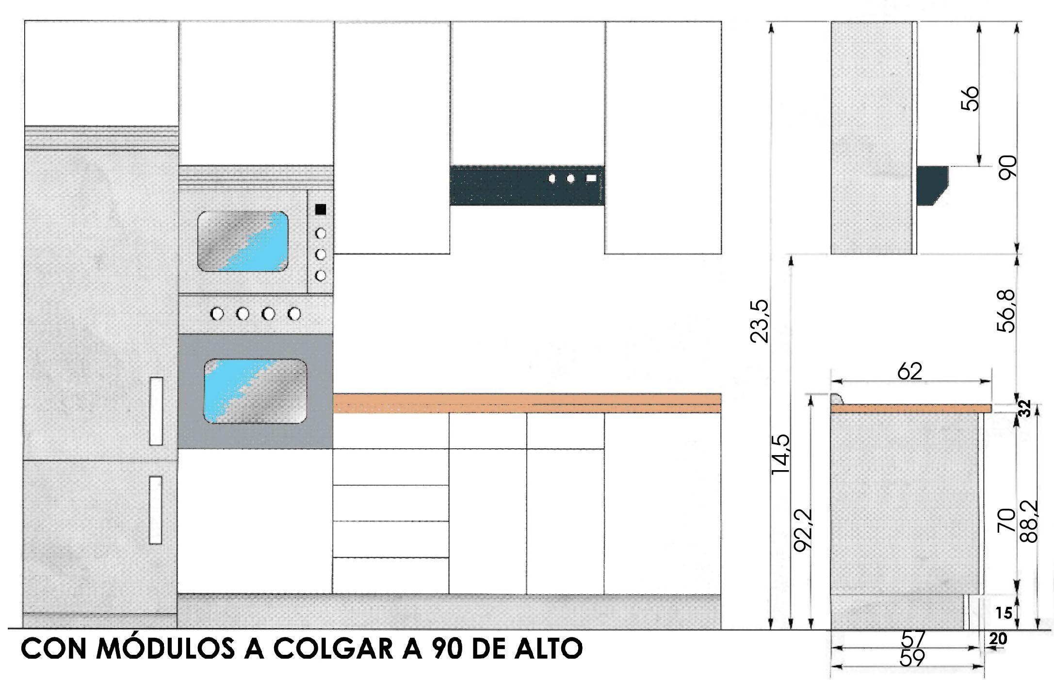 Medidas muebles de cocina buscar con google salas for Planos para fabricar una cocina cohete