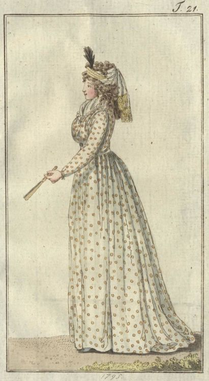 Two chemise dresses from Journal des Luxus, 1795 (Sept. and Oct.)