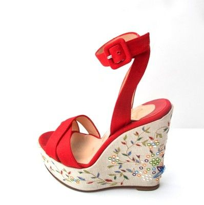 e5ccc1a752af CHRISTIAN LOUBOUTIN RED CANVAS FLORAL APPLIQUE MIRRORED WEDGET PLATFORM 36 1  2