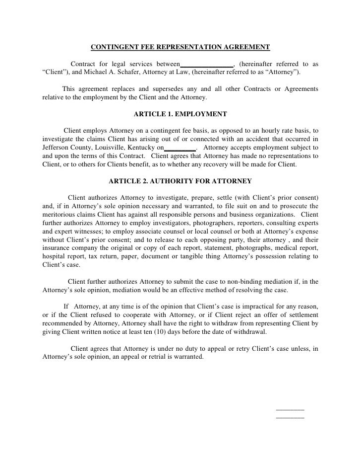 Contingent Fee Representation Agreement Contract For Legal Services - Legal Agreement Contract