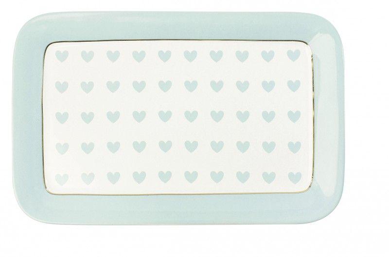 Miss Etoile Keramik Tortenplatte Herzen Turkis 23x15cm Wohnen