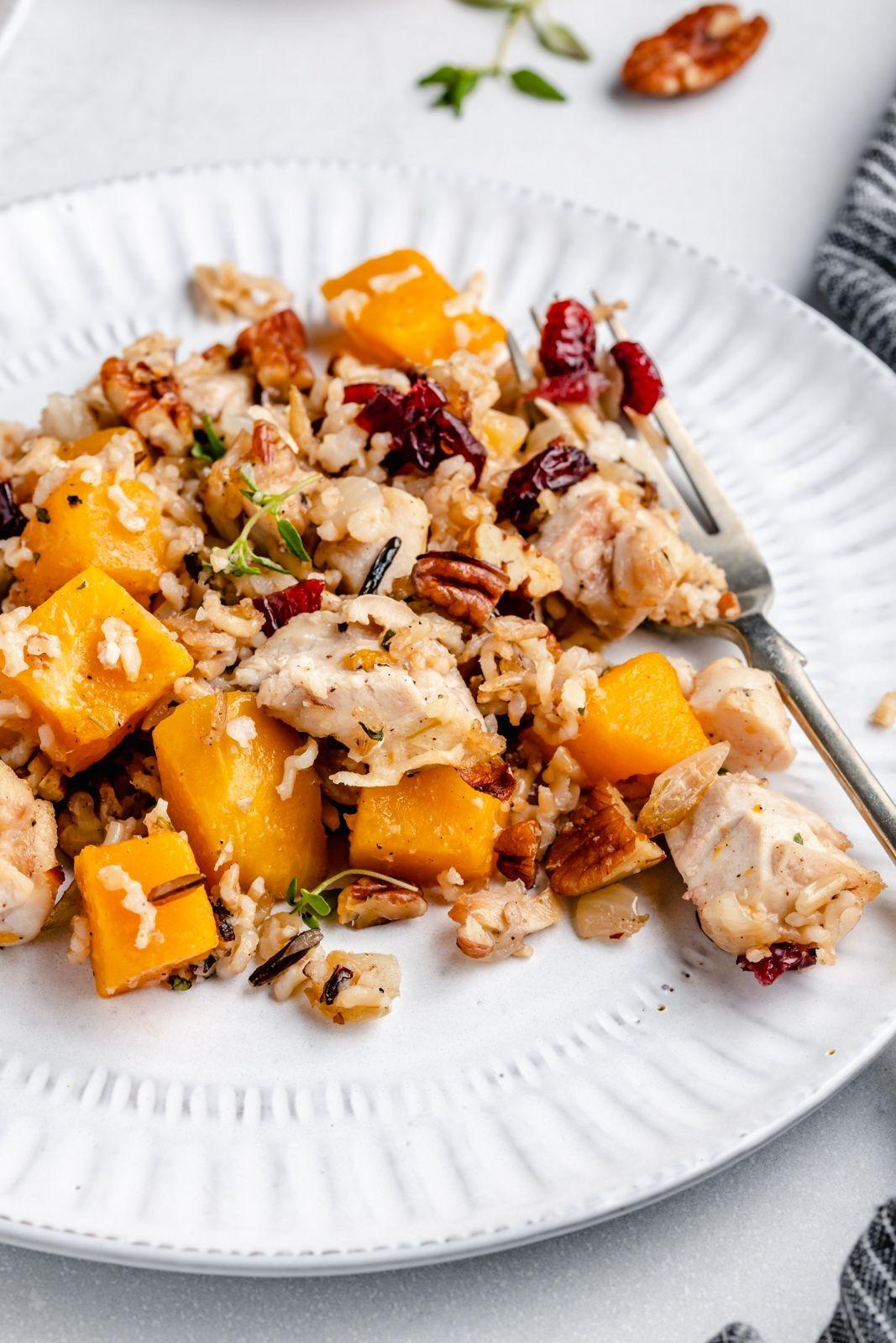 Butternut Squash, Chicken and Wild Rice Casserole