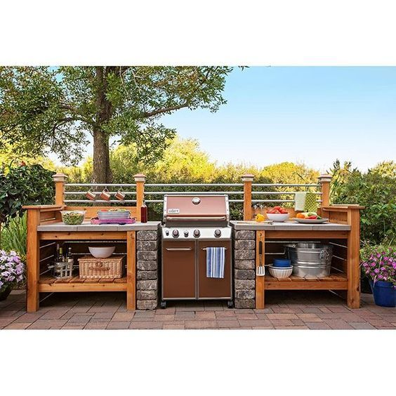Loweshomeimprovement Get The Look Of An Expensive Outdoor Kitchen Without The Cost Surround A Gas Gr Outdoor Grill Station Outdoor Bbq Outdoor Kitchen Design
