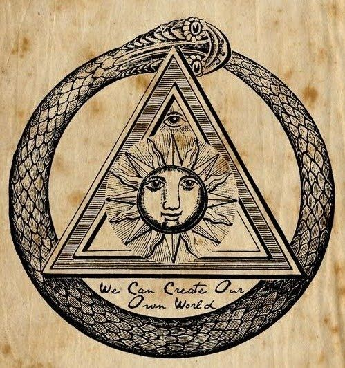 The Ouroboros or Uroborus is an ancient symbol depicting a serpent or  dragon eating its own tail. The Ouroboros repre… | Ancient symbols, Masonic  symbols, Ouroboros