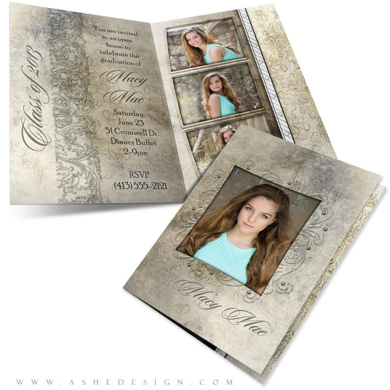 5x7 Folded Senior Girl Graduation Card Macy Mae Card Template Graduation Invitations Graduation Girl