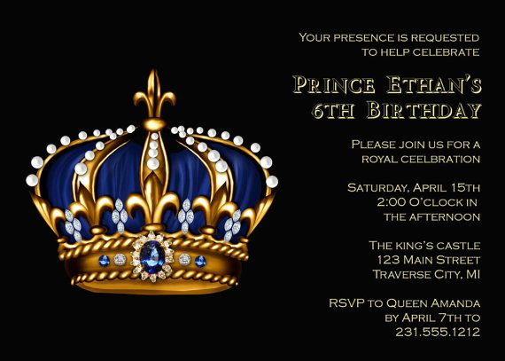 Prince birthday invitation gold crown for royal king kids crown royal birthday invitation prince or king birthday party invitation stopboris Gallery