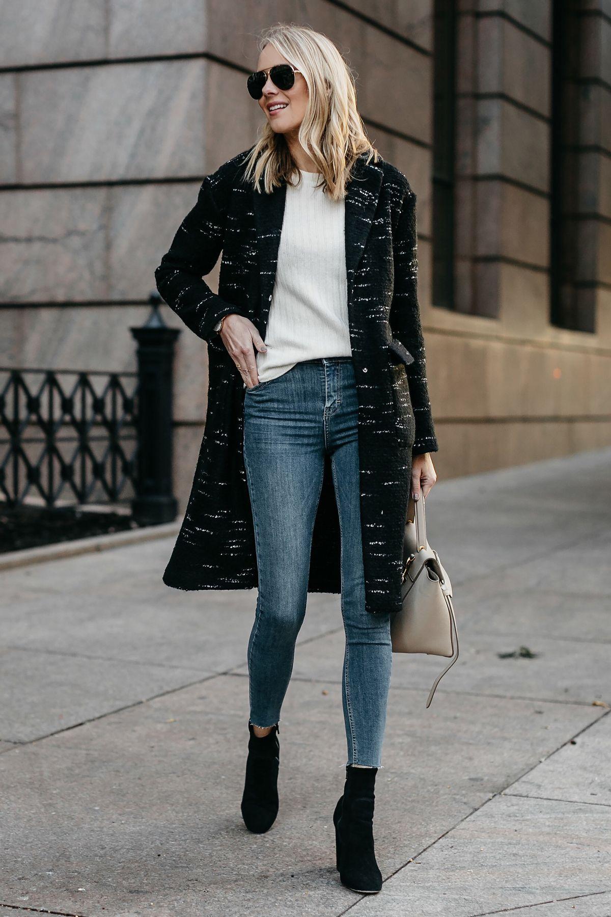 a585a99ba3a8 Blonde Woman Wearing Black Sweater Coat White Sweater Denim Skinny Jeans  Black Booties Fashion Jackson Dallas Blogger Fashion Blogger Street Style