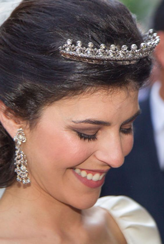 a close up of Eva and the tiara she wore on her wedding day