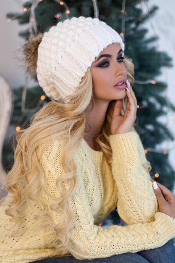 89602c025fb Pom pom hat lined with fleece-Pom pom slouchy beanie-Raccoon fur pom ...