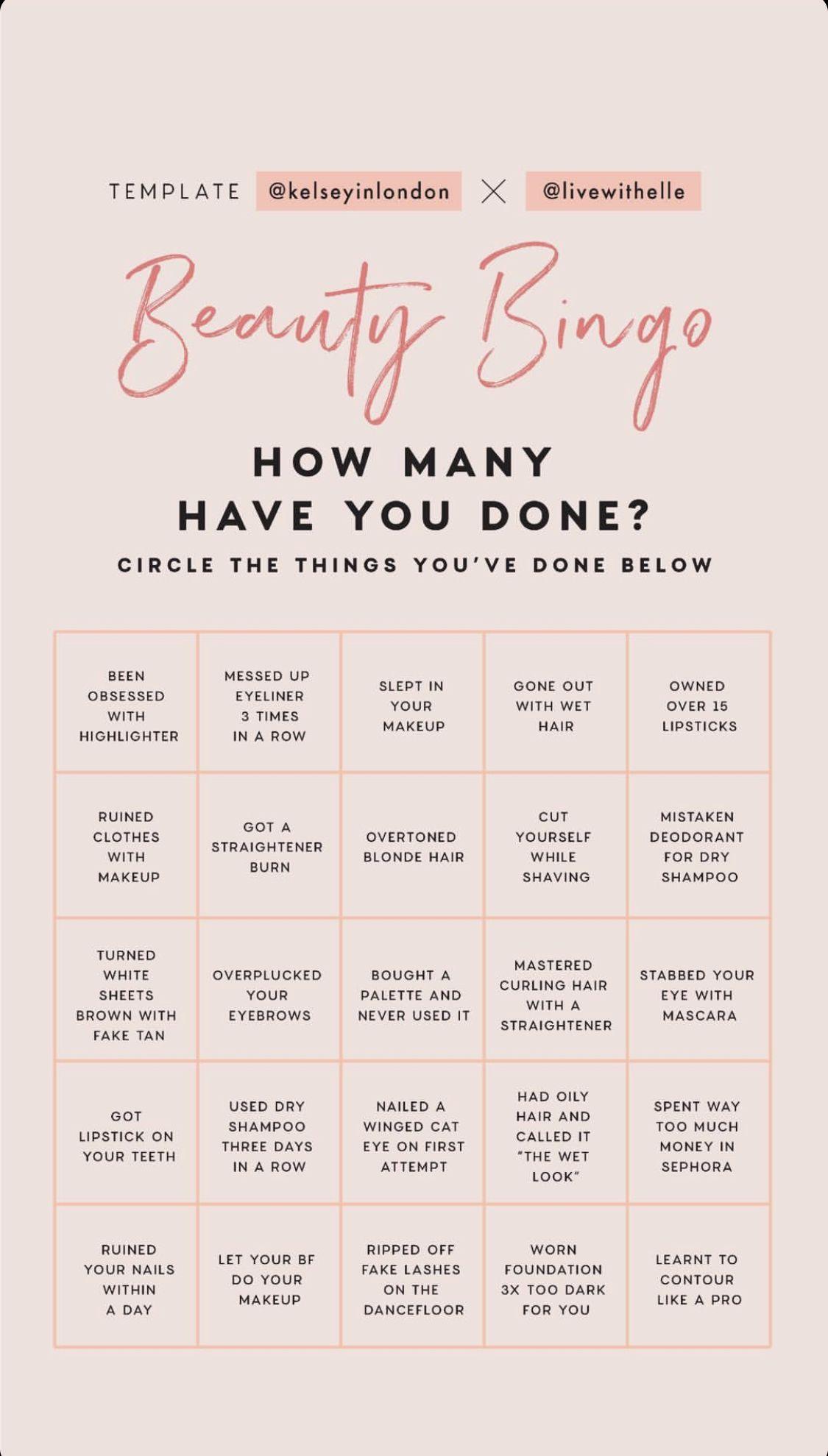 Beauty Bingo Instagram Story Questions Instagram Story Bingo