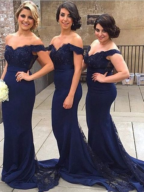 Mermaid Off Shoulder Court Train Lace Navy Blue Bridesmaid Prom Dress 7a372008fd20