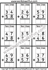 2 Digit Addition With Regrouping – Carrying – 5 Worksheets ...