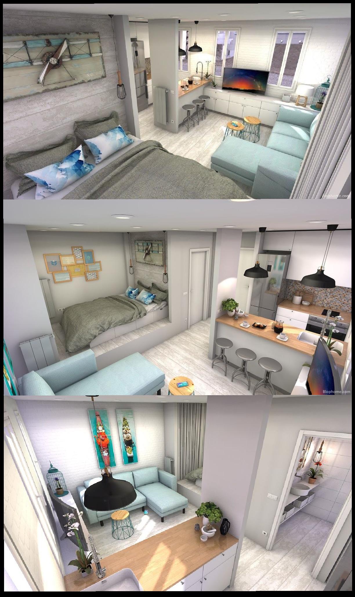 Tiny studio smallroom studio layout interialdesign