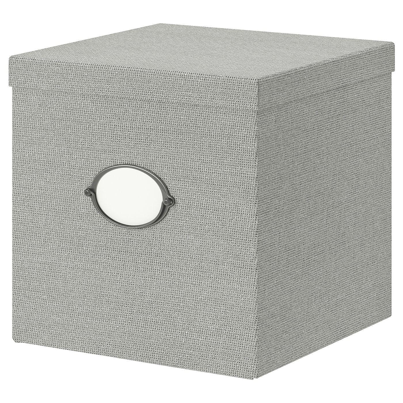 Kvarnvik storage box with lid grey ikea storage