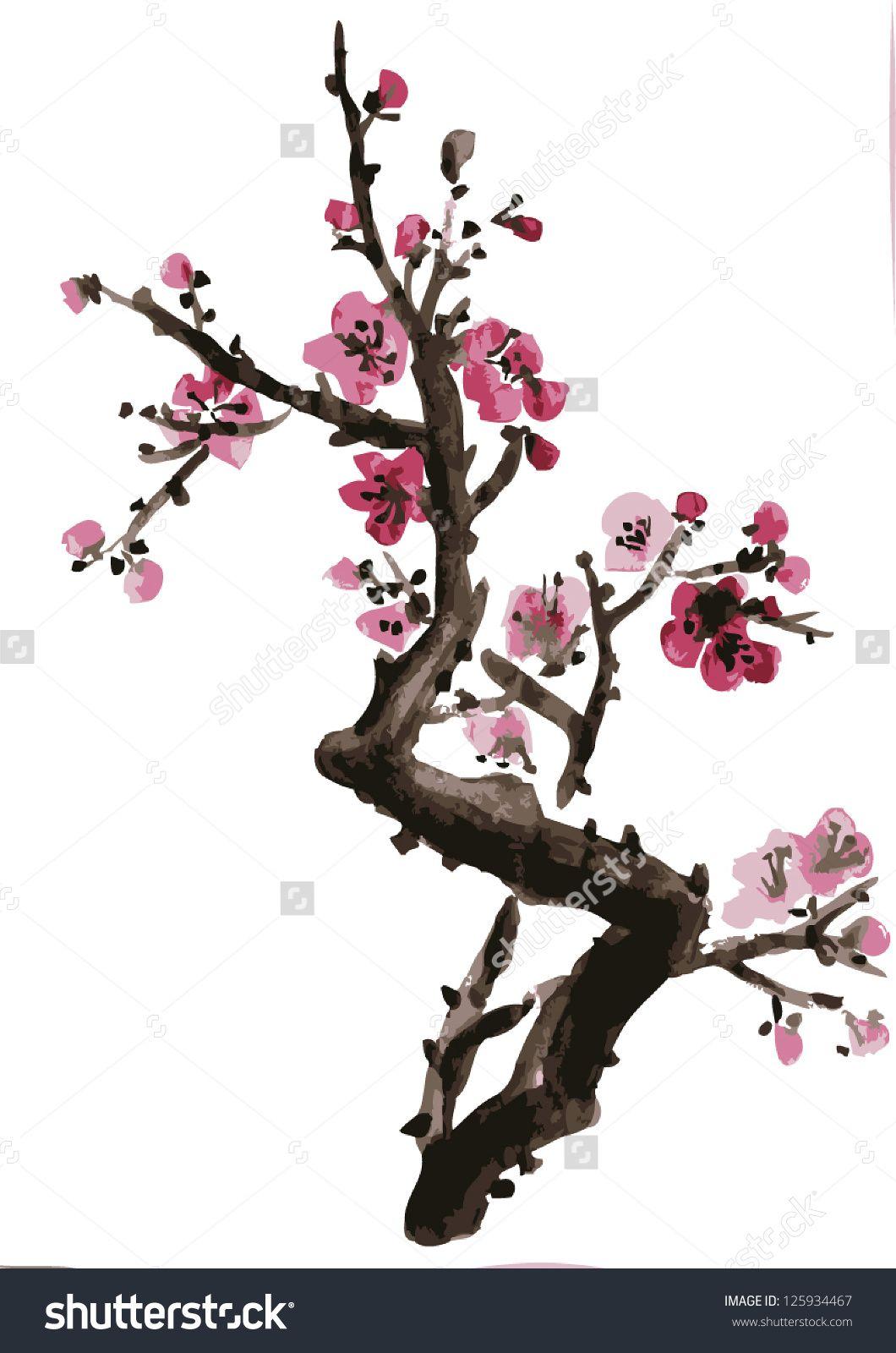 Stock Vector Realistic Sakura Blossom Japanese Cherry Tree Isolated On White Background Vectorizat Cherry Blossom Art Cherry Blossom Watercolor Sakura Painting