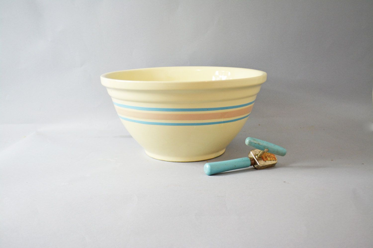 Antique Stoneware Mixing Bowl Fine Quality Blue And Orange Stripe