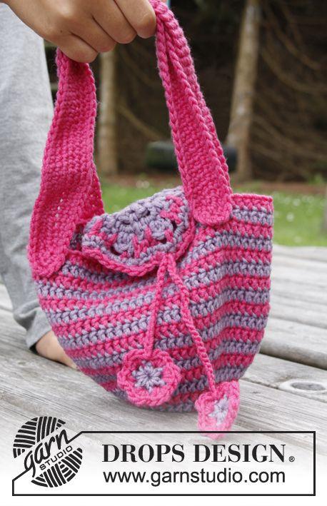 Flower Carrier / DROPS Children 22-28 - Crochet DROPS bag with ...