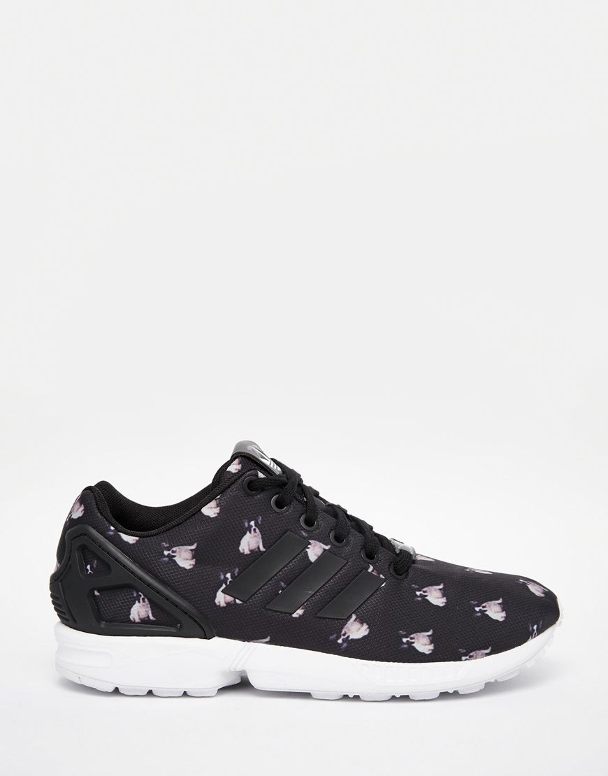 abc3c61269116 adidas Originals x Rita Ora French Bull Dog Print ZX Flux Sneakers ...