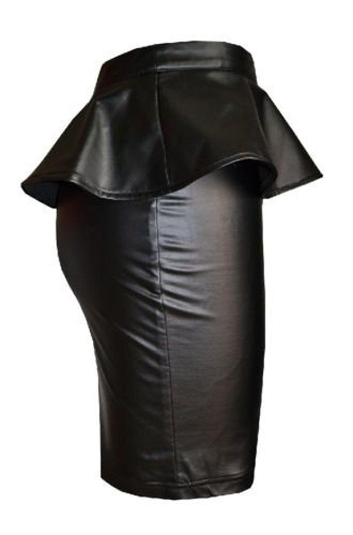 fd48bbca98 Fashion Mark - Womens Plus Size Wet Look Peplum Pencil Skirt Ladies  Celebrity PVC Leather Skirt - Black - Sizes 8-24 (SM=8/10, Black):  Amazon.co.uk: ...