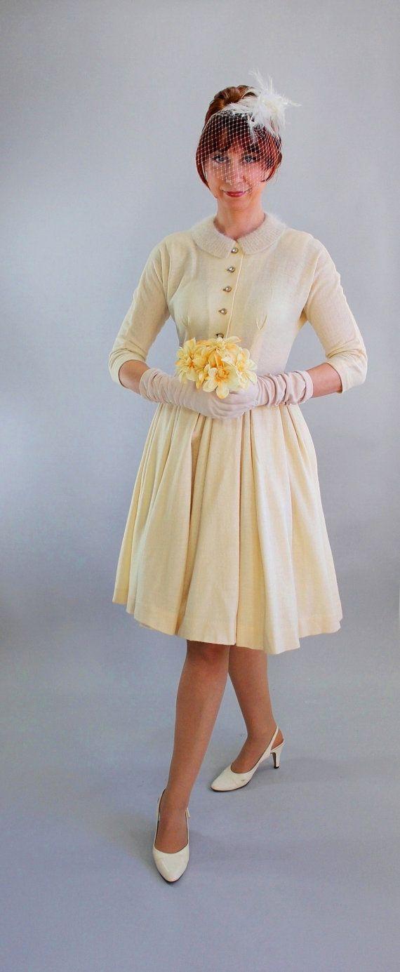 Dresses for a winter wedding reception  s Cream Wool Knit Winter Wedding Dress Reception Dress Tea