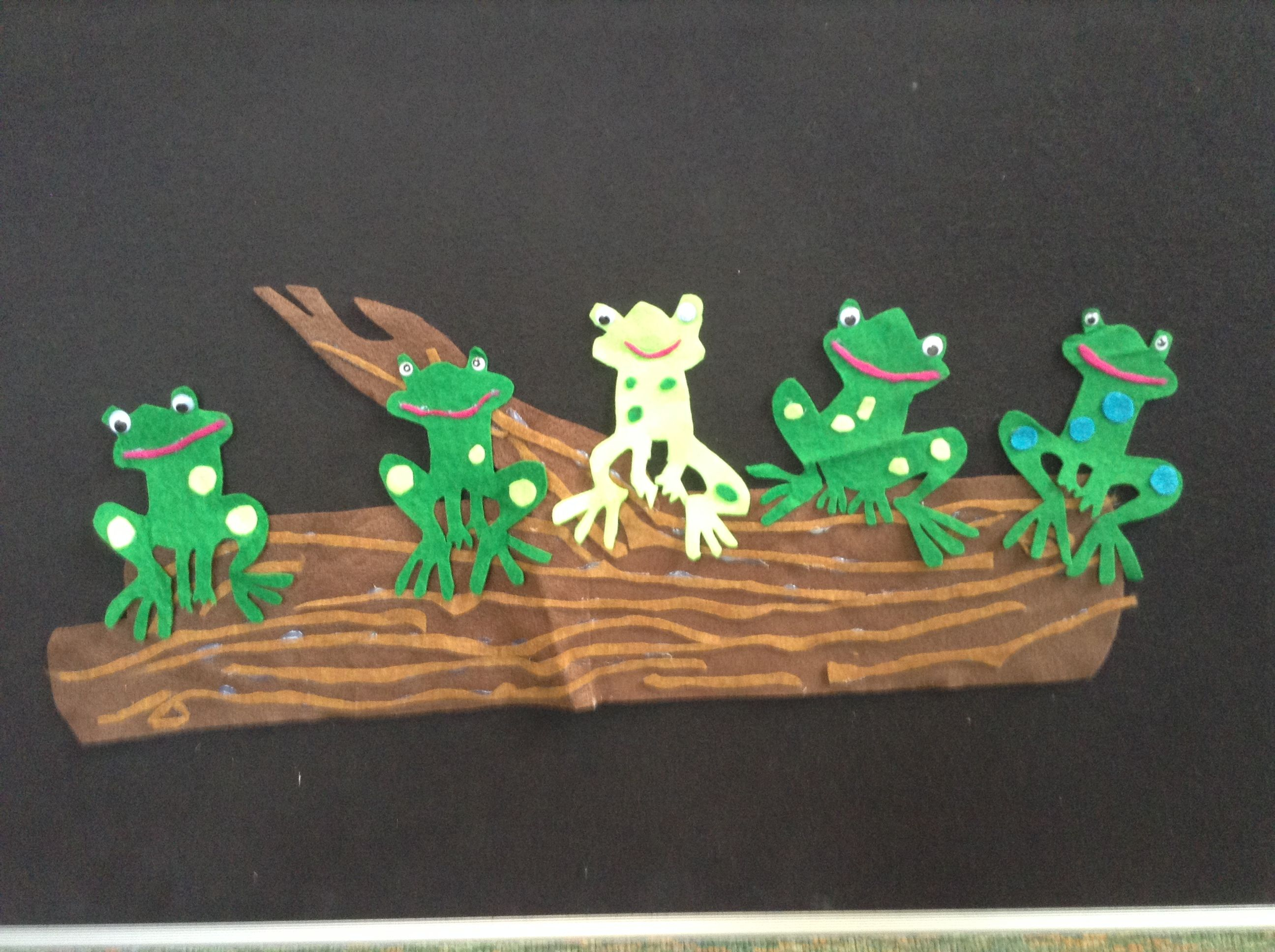 Five Green And Speckled Frogs Felt Board