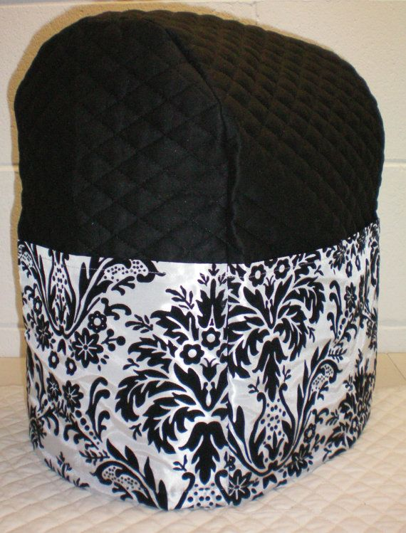 Black Quilted Damask Cover for Sunbeam Heritage Series 4.6qt Mixmaster Stand Mixer w/6 Pockets