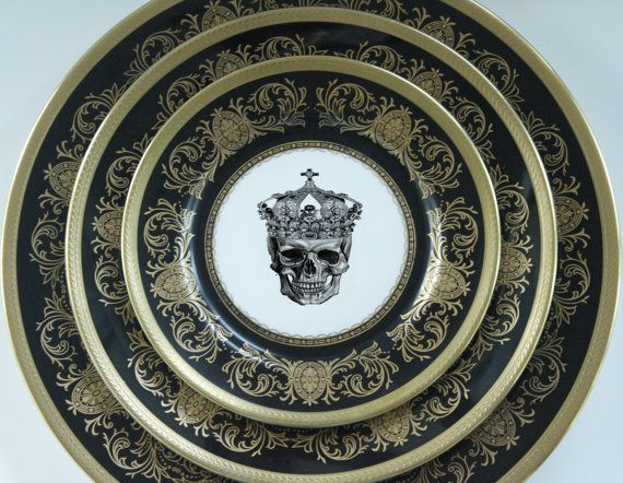 black and gold plates & Angioletti Designs: 3-Piece Aynsley Imperial Onyx Skull Plate Set ...