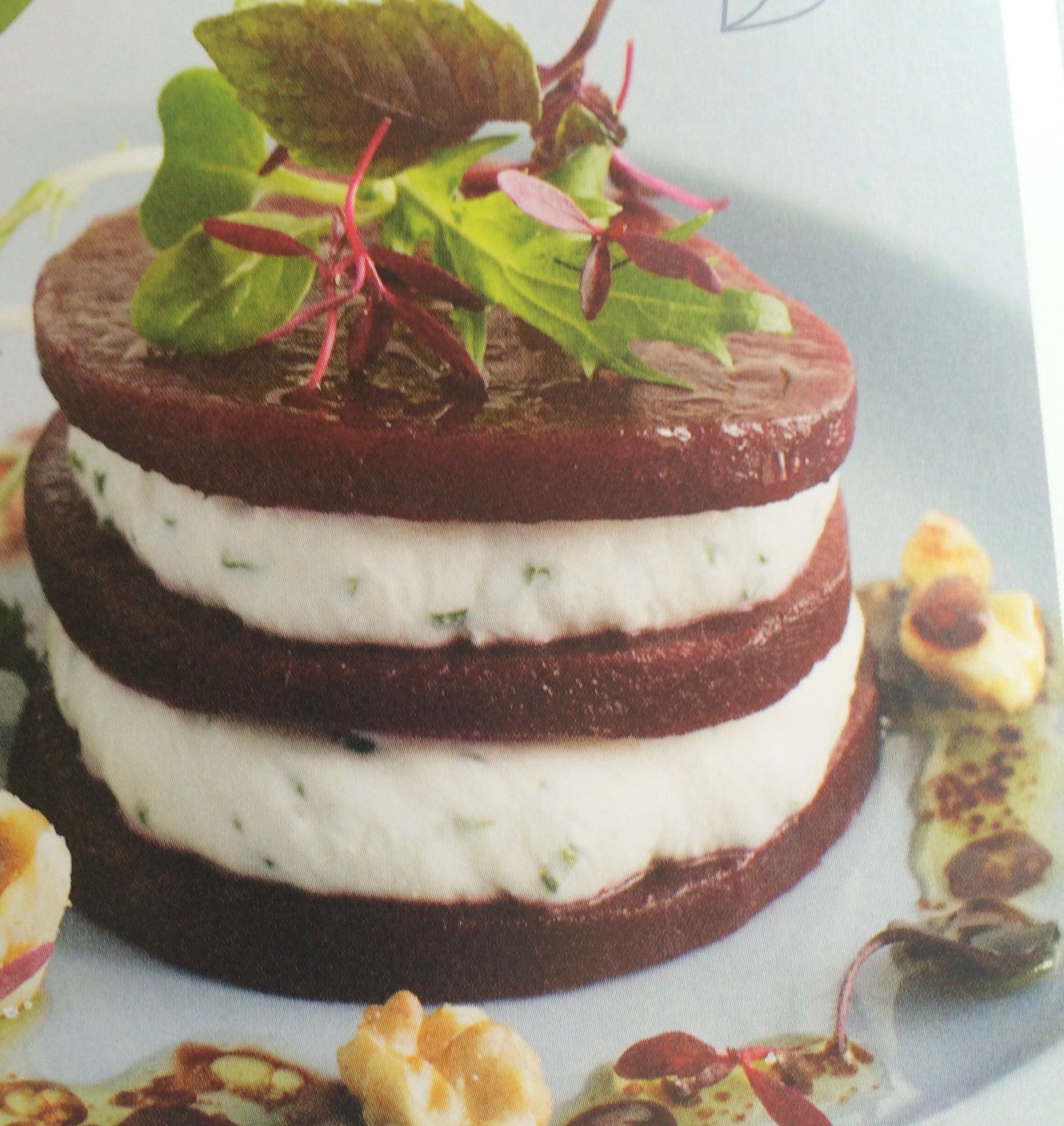 Beetroot and goats cheese timbale, walnuts and baby leaves