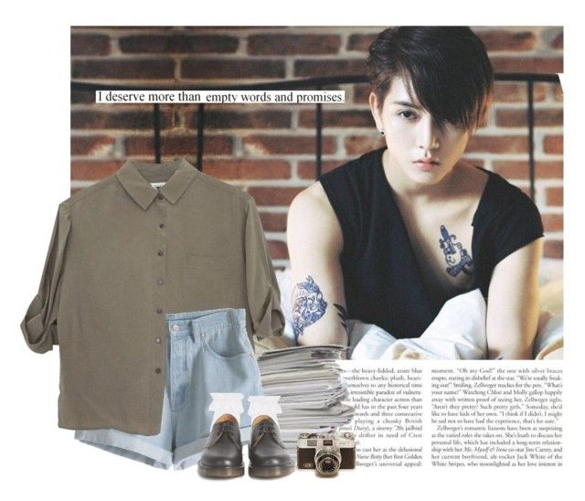"""Ren: i deserve more than empty words and promises"" by yxing ❤ liked on Polyvore featuring Jaeger, MTWTFSS Weekday, Hue, Dr. Martens, kpop, ren and nuest"