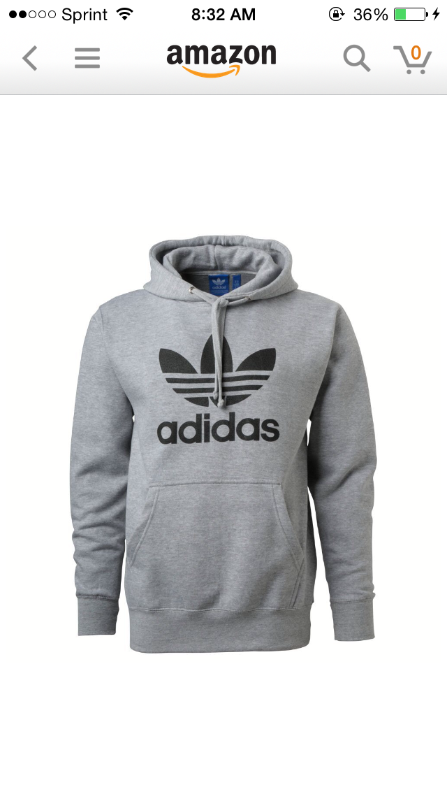 Adidas Mens Originals Trefoil Logo Hoodie Medium Grey Ce pull est  confortable et a la mode.
