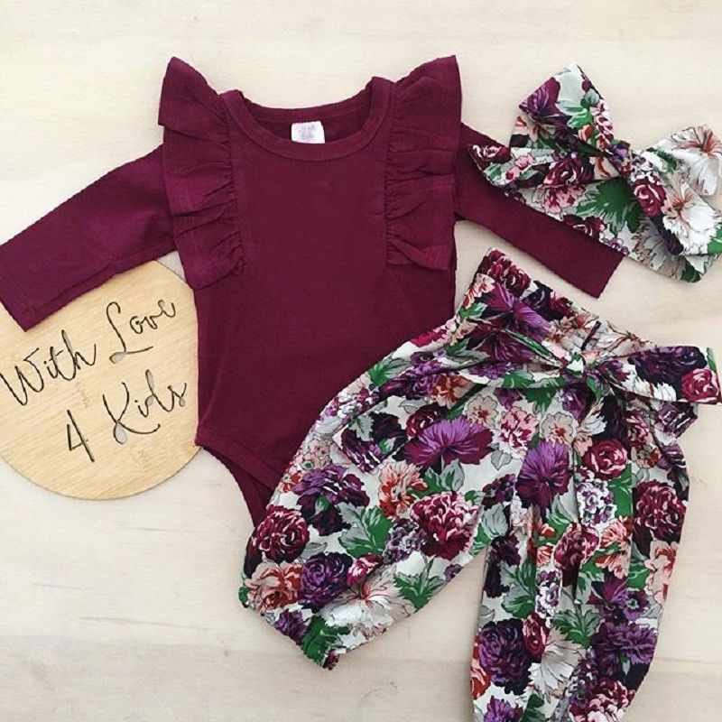 US STOCK Newborn Baby Girl Clothes Tops Romper Pants Headband Outfits Set 0-18M