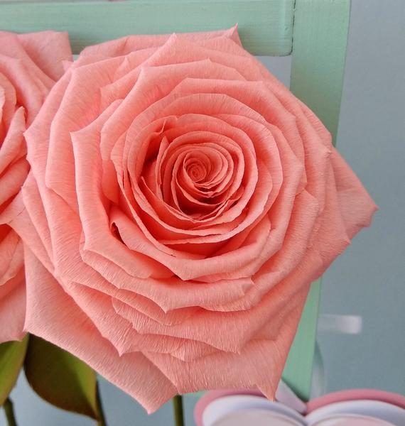 Crepe paper bouquet Crepe paper roses Paper roses set Salmon | Etsy #crepepaperroses
