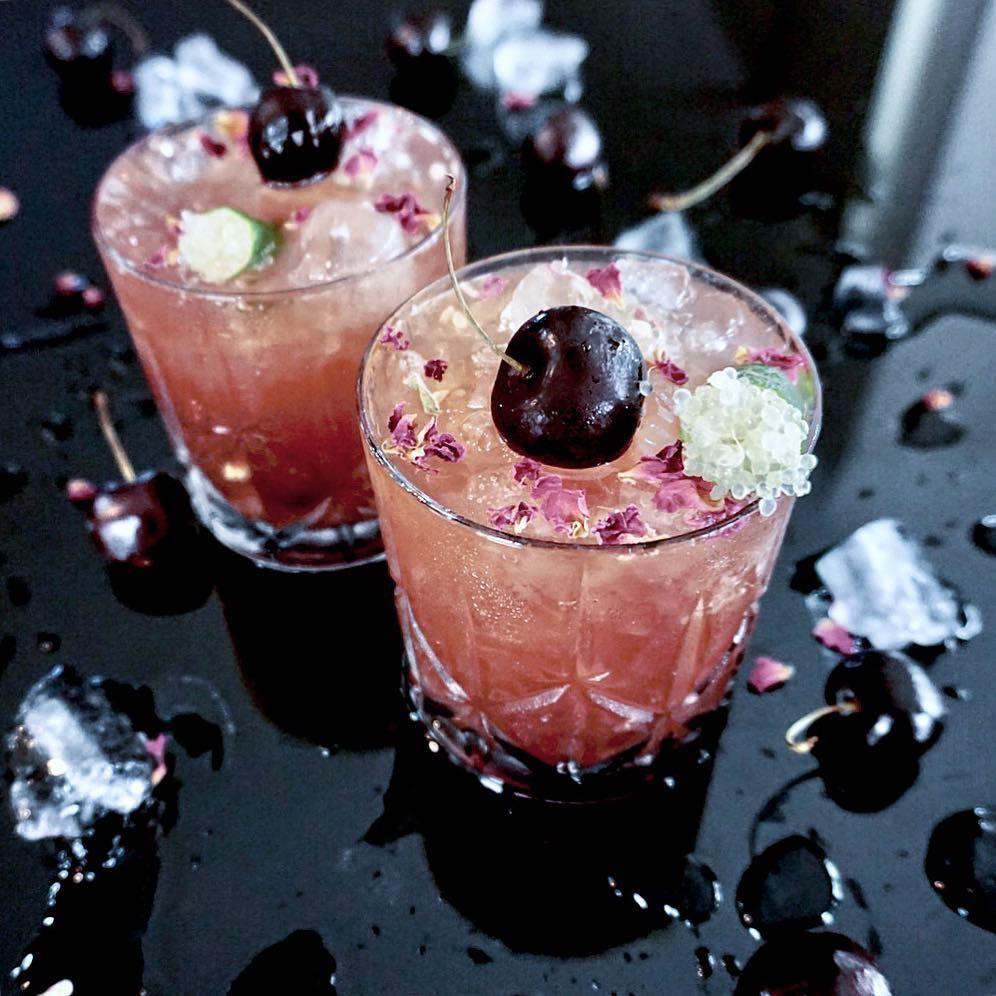 Sour Cherry Jam Cocktail Made With Sour Cherry Jam Gin Maraschino Orange Bitters Black Cherry Juice Sour Cherry Jam Black Cherry Juice Orange Juice Shake