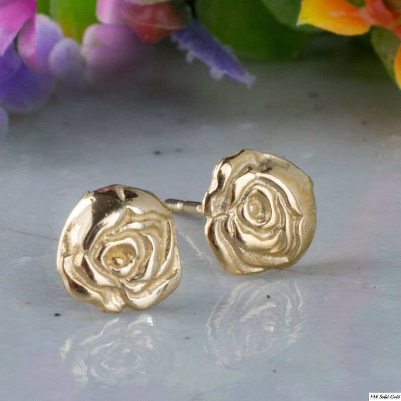 Rose Flower Earrings 14k Yellow Gold Stud Earrings Rose Etsy In 2020 14k Yellow Gold Stud Earrings Yellow Gold Earrings Studs Gold Earrings Studs