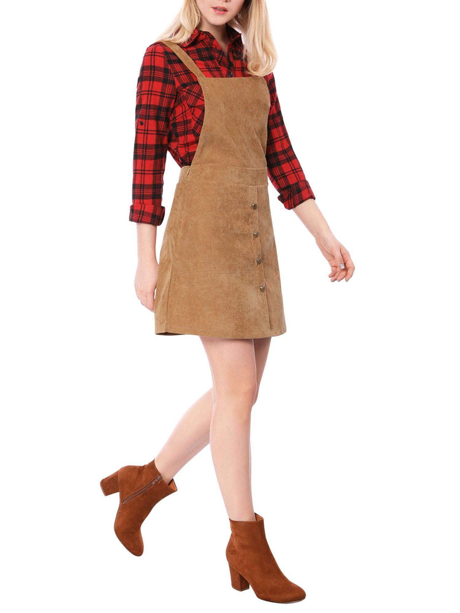 Women S A Line Corduroy Button Decor Suspender Overall Skirt Dress Ad Corduroy Sponsored Button Wo Casual Dresses For Teens Overall Skirt Overall Dress [ 2000 x 1500 Pixel ]
