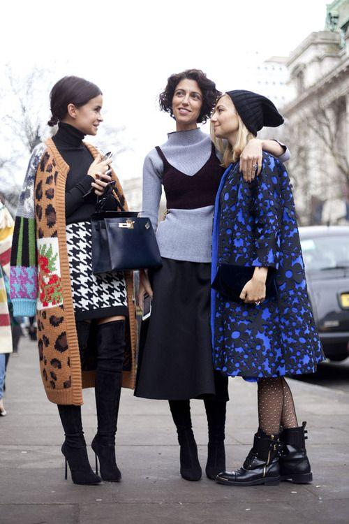 Mira Duma, Yasmin Sewell  Nasiba Adilova offer a masterclass in clashing colours and print.