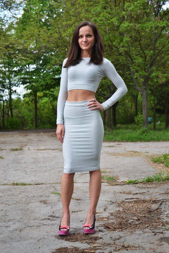 set of two 2 high waist high waisted pencil tight skirt