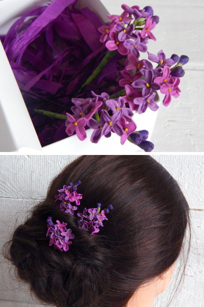 Small Lilac Flower Hair Pins Lilac Wedding Hair Piece Lilac Flower