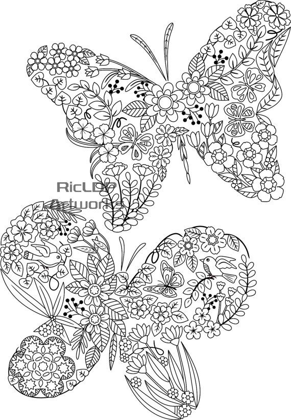 Three 3 Printable Nicely Shaped Coloring Pages Swan Butterfly Fish Adult