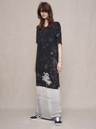 Draw In Light Classic Black Cosmos Maxi Dress - Last one