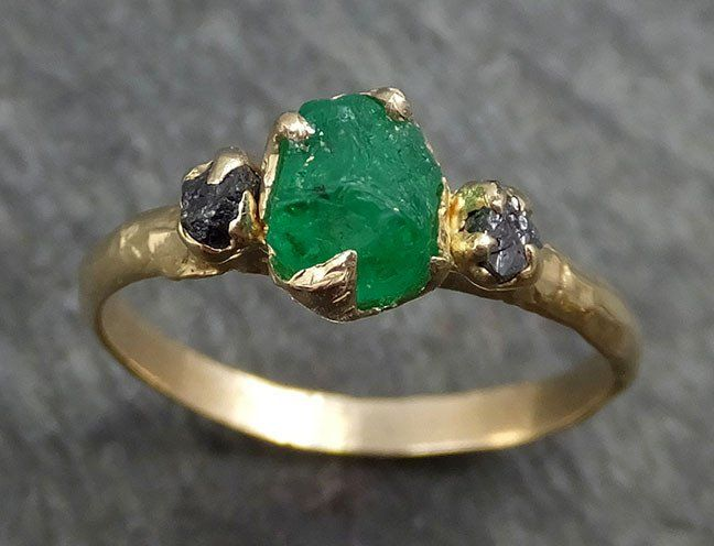 be6a56de0e79f Three raw Stone Diamond Emerald Gemstone Engagement Ring 14k yellow ...